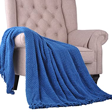Home Soft Things Boon Knitted Tweed Throw Couch Cover Blanket, 50  x 60 , Snorkel Blue