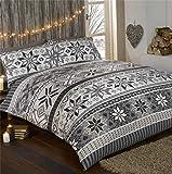 Natale fiocco di neve 100% flanella di cotone set copripiumino e 2federe, set di biancheria da letto matrimoniale, Grigio/Multicolore