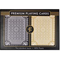 Black & Gold Premium Plastic Playing Cards: Two Standard Decks