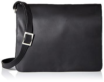 b80f16af Visconti Womens Large Leather Flap-Over Shoulder/Crossbody Messenger Bag,  Black