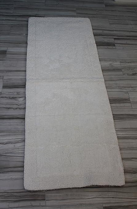 Castle Hill Bella Napoli 100% Cotton Reversible Bath Rug 22X60 White