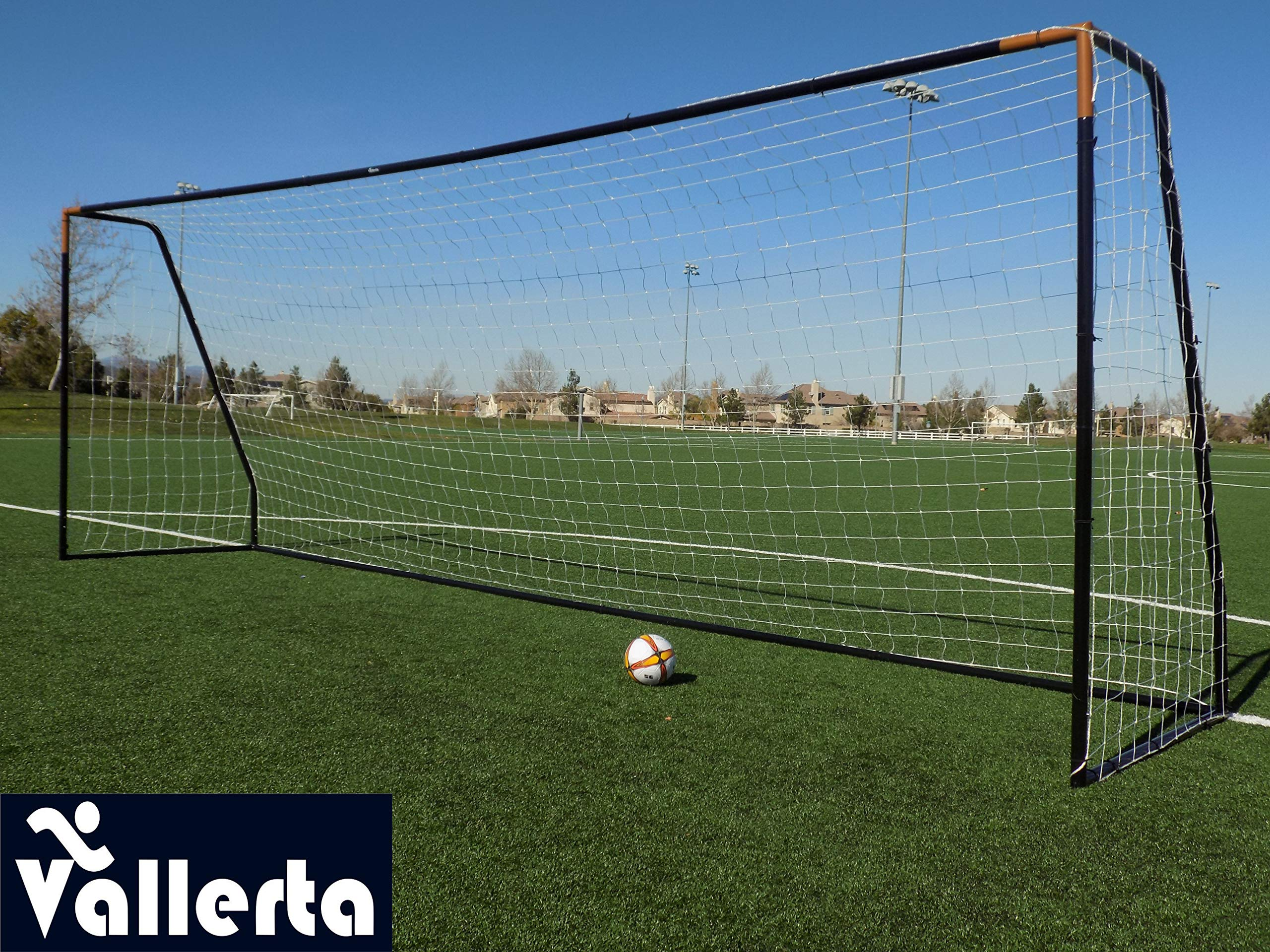Vallerta Premier 24 X 8 FT. Regulation Size Soccer Goal w/Premium Weatherproof 4MM Net. Strongest 50MM Diameter Steel Frame w/Black/Gold Corrosion Resistant Coating. Newest 8x24 Foot Design(1Net)