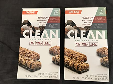 Come Ready Nutrition Clean Protein Bars 2 pack 48 Total Bars – 24 Chocolate Sea Salt and 24 Chocolate Peanut Butter