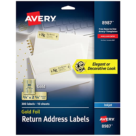 amazon com avery gold address labels for inkjet printers 3 4 x 2