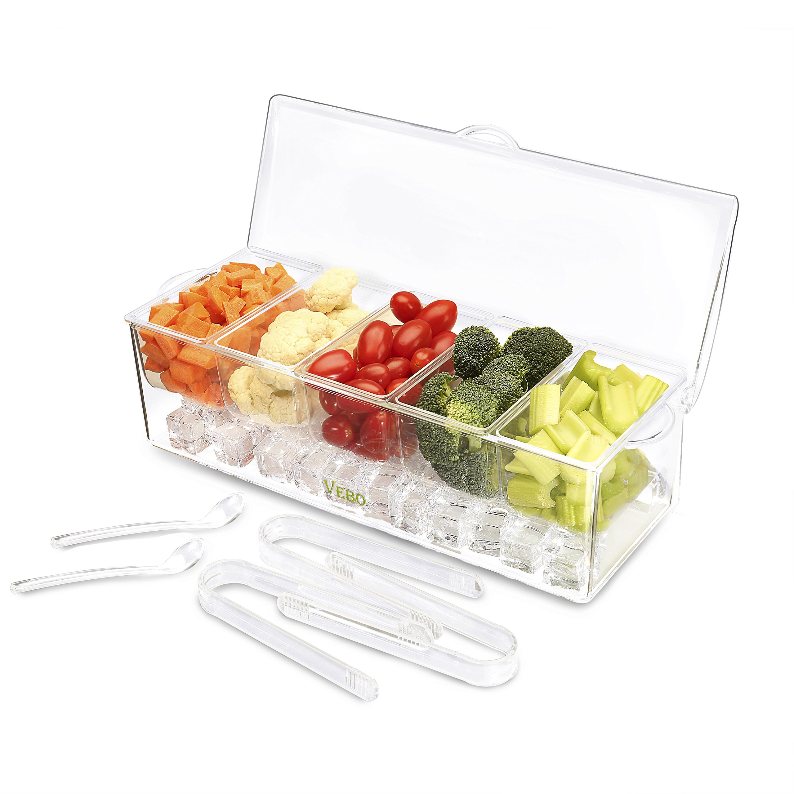 Ice Chilled 5 Compartment Condiment Server Caddy - Serving Tray Container with 5 Removable Dishes with over 2 Cup Capacity Each and Hinged Lid   3 Serving Spoons + 3 Tongs Included By VeBo