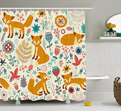 Ambesonne Fox Shower Curtain By Natural Wildlife Composition With Cute Foxes Ornate Flowers Flying Birds