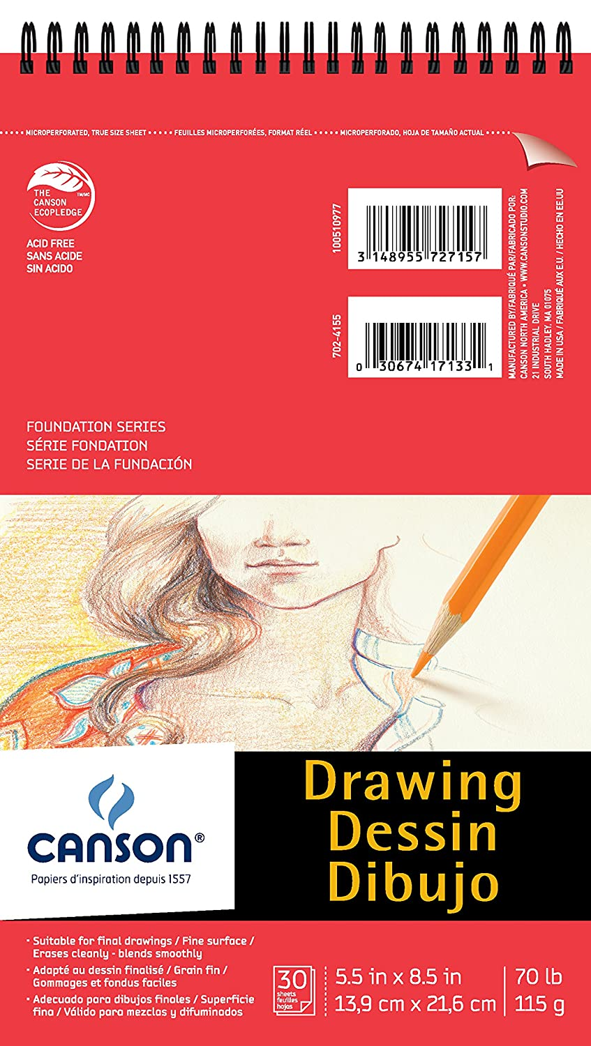 Canson Foundation Drawing Paper Pad with Micro-Perforated Sheets and Fine Texture, Side Wire Bound, 70 Pound, 18 x 24 Inch, 30 Sheets Canson Inc. 100510981