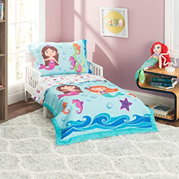 huge selection of 1de5b b1499 Everyday Kids 4 Piece Toddler Bedding Set -Undersea Mermaids Adventure-  Includes Comforter, Flat Sheet, Fitted Sheet and Reversible Pillowcase