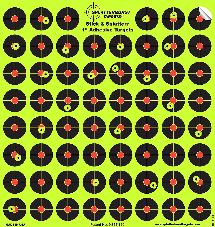 Splatterburst Targets – 10 Unidades de 2,54 cm Stick & Splatter Autoadhesivo Reactive Disparos – Pistola – Rifle – Pistola – Airsoft – BB Pistola – Pistola de Pellet – Rifle de Aire