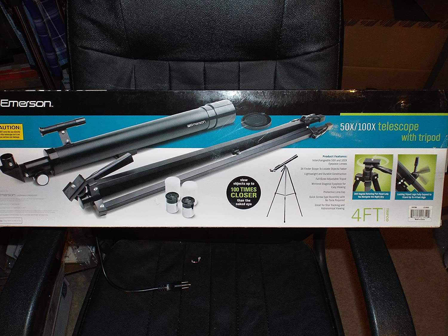 3663694a755d9 50x / 100x Refractor Telescope with Adjustable Tripod - Black