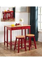 Kings Brand Furniture 3 Piece Kitchen Island Breakfast Bar Set Drop Down Table & 2 Stools