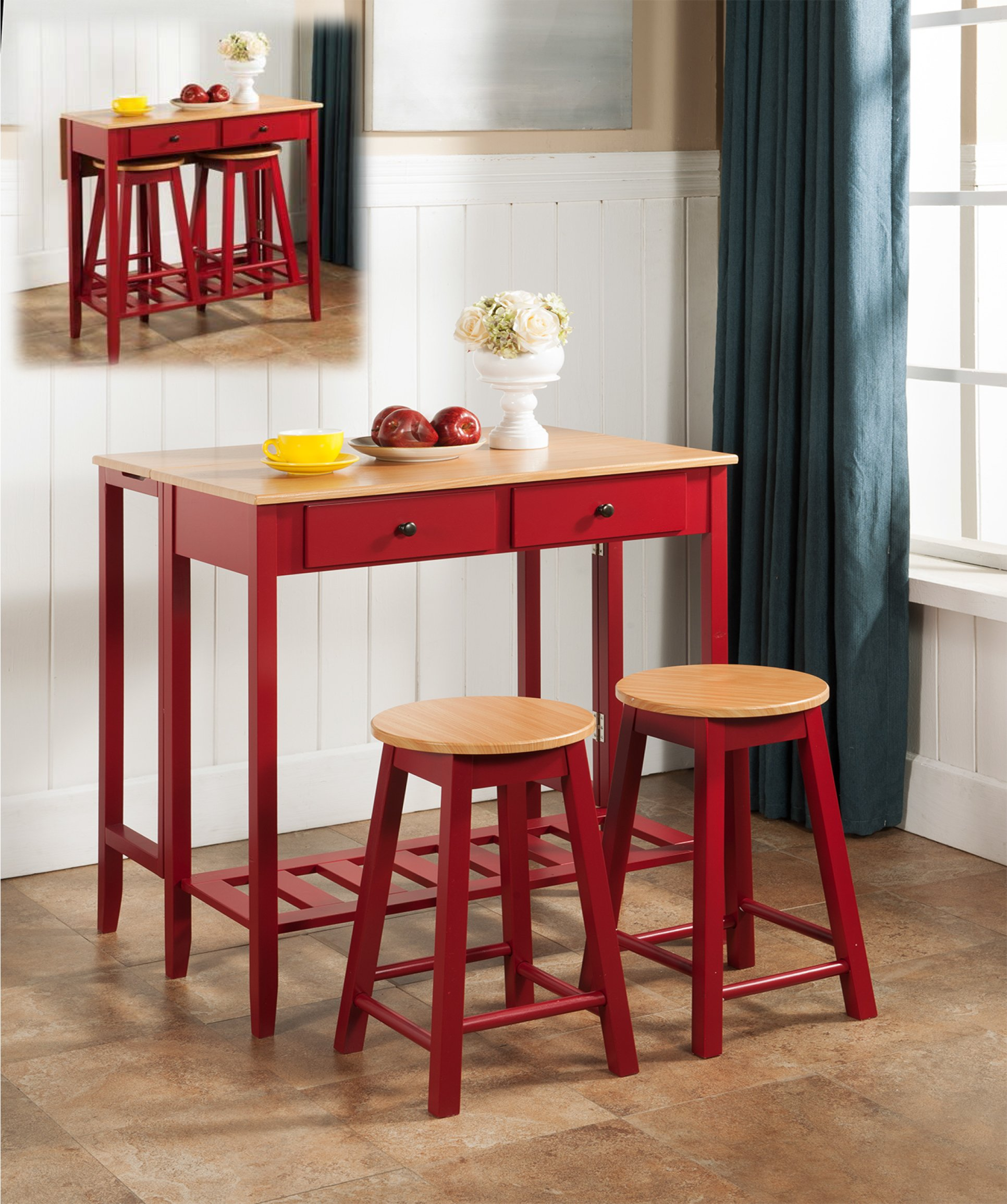 Kings Brand Furniture 3 Piece Kitchen Island Breakfast Bar Set Drop Down Table & 2 Stools - 3 Pc. Kings Brand Kitchen Island Breakfast Bar Set Drop Down Table & 2 Stools With its sleek red finish and marble veneer tops, the Pub set radiates contemporary chic, encouraging casual meals and late conversations Scaled to fit into smaller spaces or cozy nooks in larger rooms - kitchen-dining-room-furniture, kitchen-dining-room, dining-sets - 91u75QBSZaL -