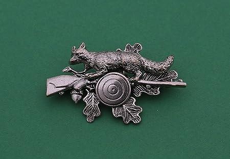 ancha–hutanstecker, sombrero adornos, joyas, adornos, caza deporte, Sagitario, pin: Hoja de roble con zorro, Rifle y cristal Sagitario