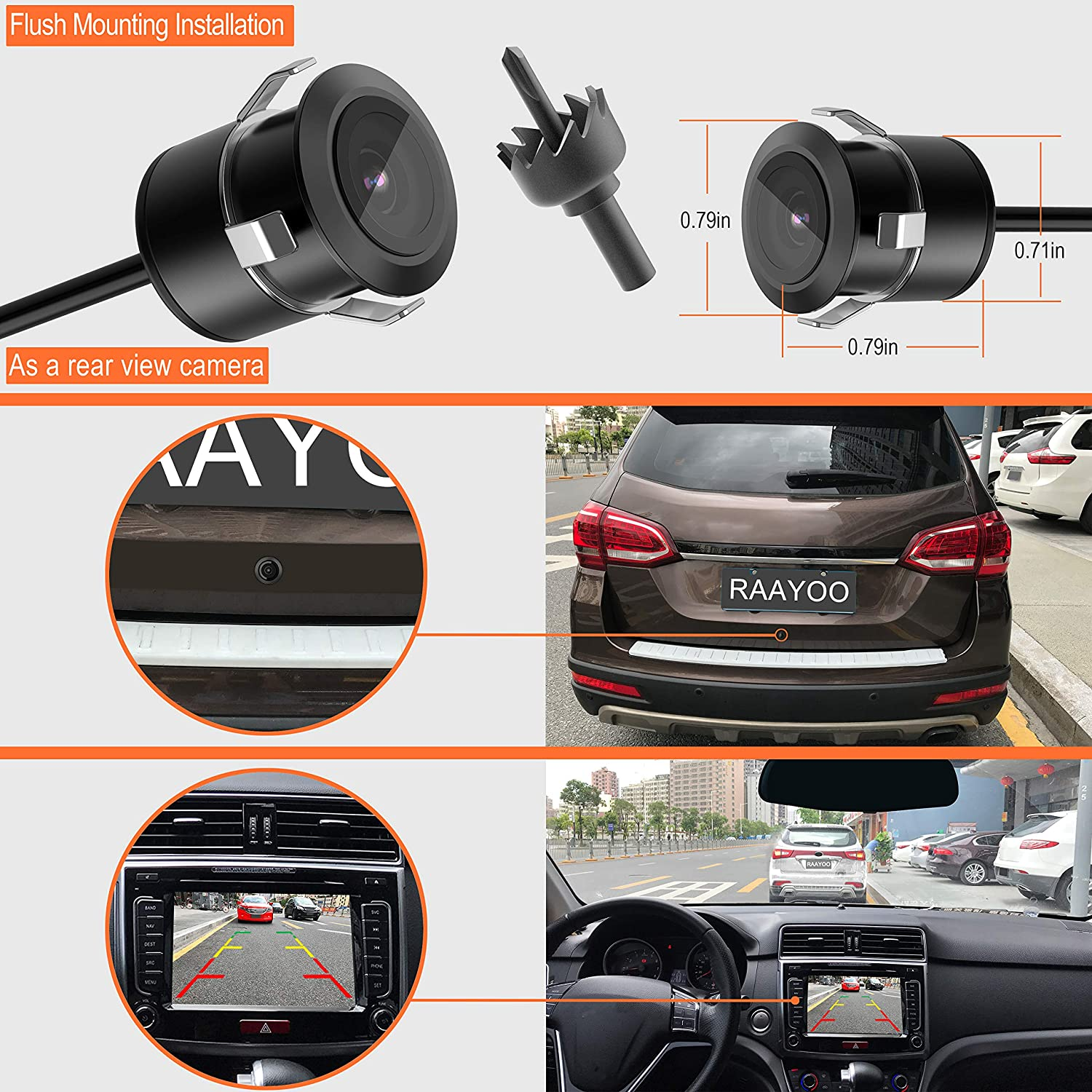 Reverse Backup Camera,RAAYOO L014 170 Degree Wide View Angle 3-in-1 Universal Car Front//Side//Rear View License Plate Camera,3 Installation Options,Removable Guildlines,mirror non-mirror image,12V only