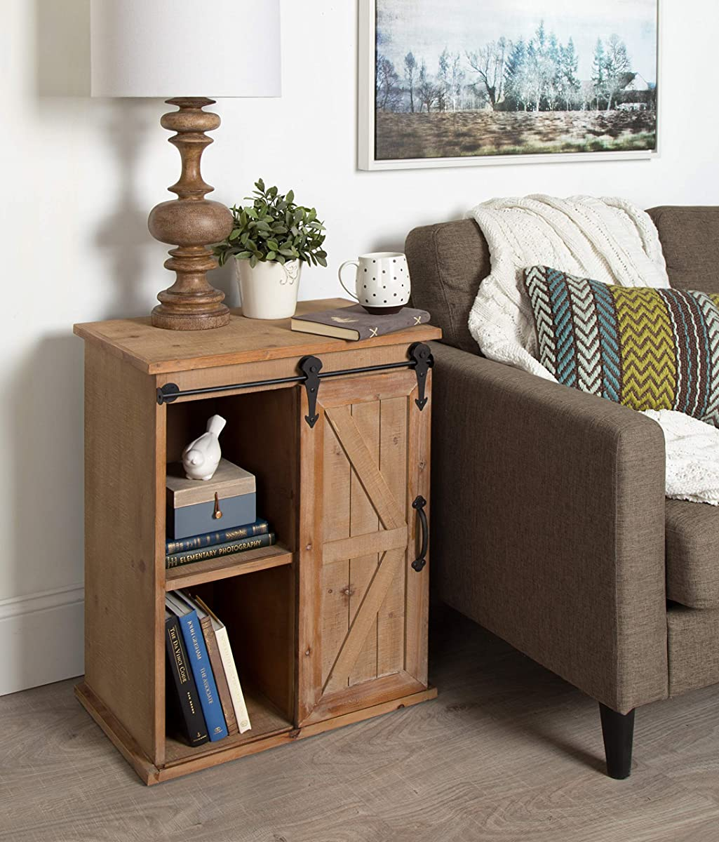 Kate and Laurel Cates Wooden Freestanding Storage Cabinet Side Accent Table Sliding Barn Door, Rustic Brown Finish