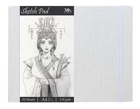 Cuaderno de Dibujo A4 de 80 Hojas - Gramaje de 110 gr y Tapa Dura de ...