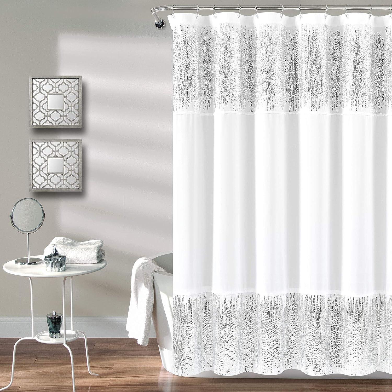 Amazon Com Lush Decor Silver Shimmer Sequins Shower Curtain