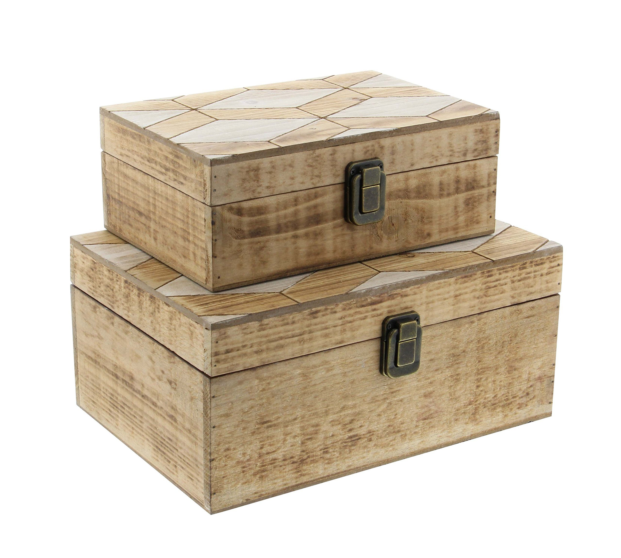 Deco 79 84305 Fir Wood Boxes (Set of 2), 10'' x 12'', Light-Brown/White/Brass-Finish