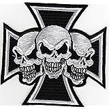 Bestellmich / Aufnäher Patch, écusson au motif tête de mort sur croix de fer