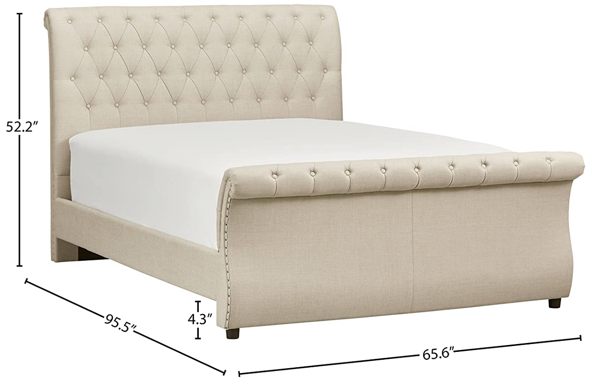 "Stone & Beam Chanton Tufted Queen Sleigh Bed, 95.5""L, Grey"