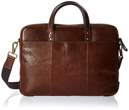 252092ab6 Amazon.com | Fossil Mens Haskell Single Zip Workbag Cognac | Briefcases