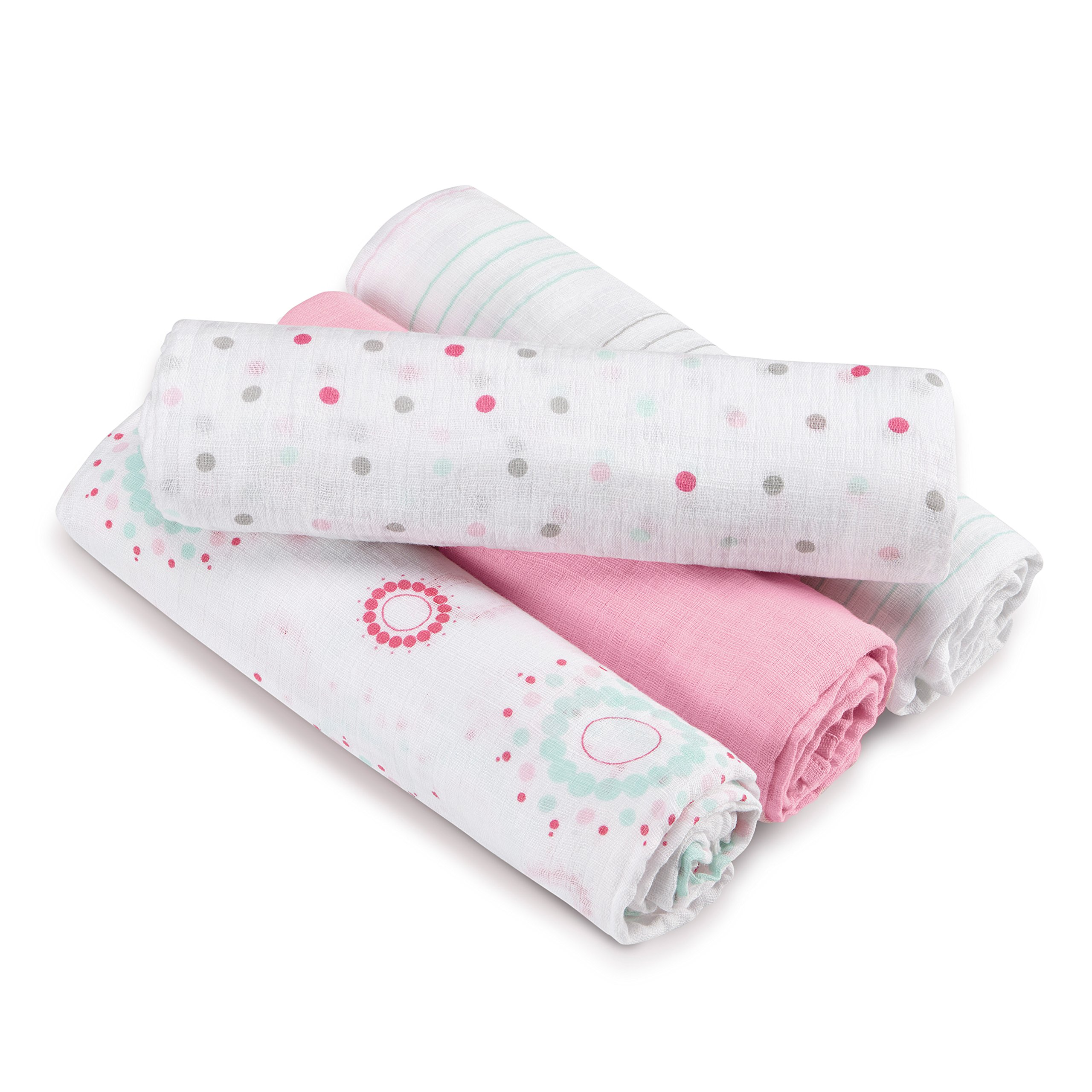 aden + anais Muslin Swaddle Plus, Sweet in Pink