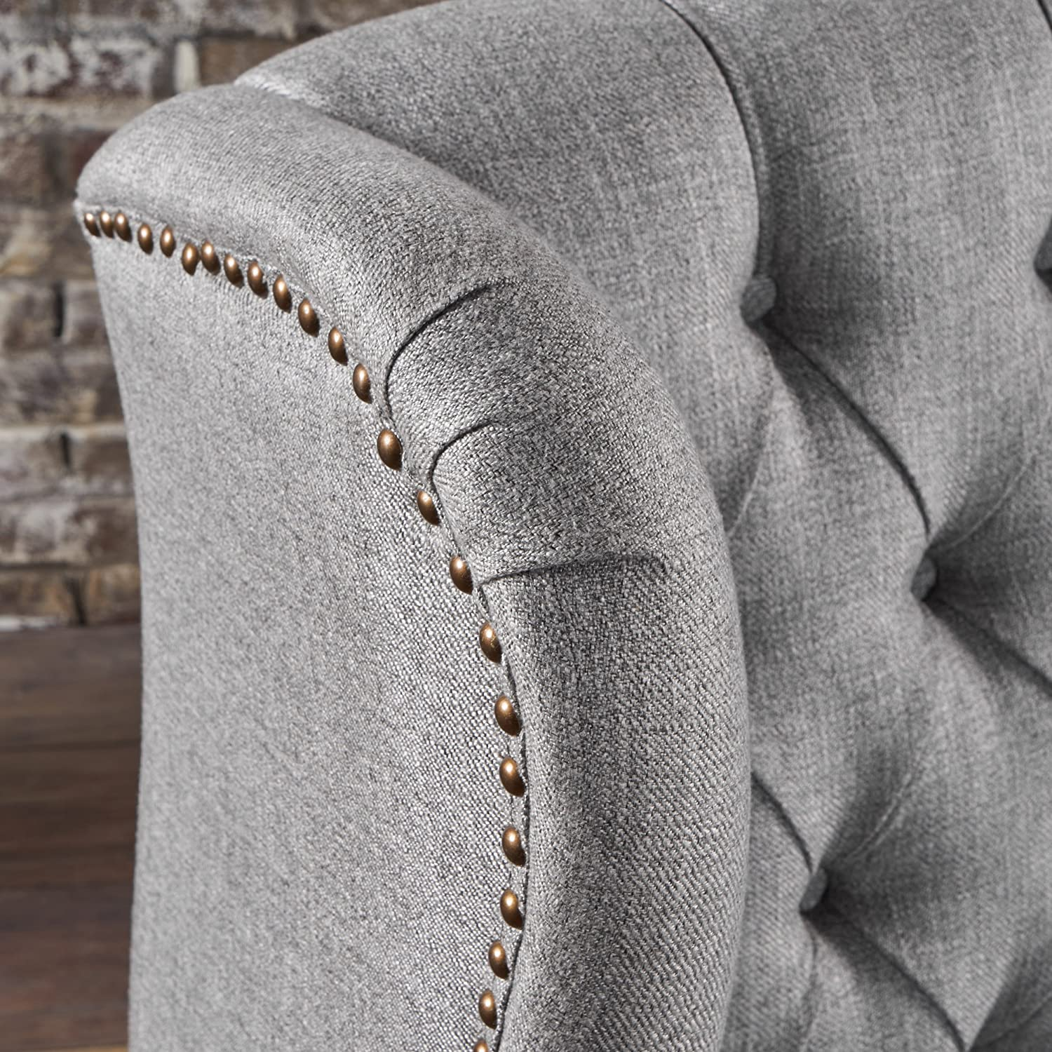 Lainie Traditional Winged Fabric Accent Chair Grey