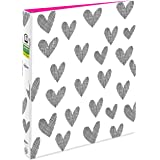 """Avery + Amy Tangerine Designer Collection Binder, 1"""" Round Rings, 175-Sheet Capacity, Hatch mark Hearts (28320)"""