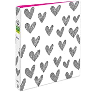 """Avery + Amy Tangerine Designer Collection Binder, 1"""" Round Rings, 175-Sheet Capacity, Hatchmark Hearts (28320)"""