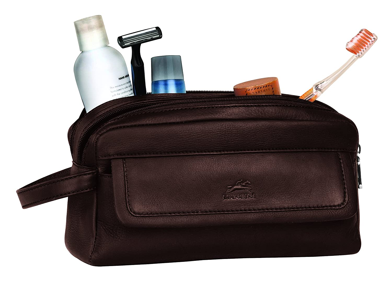 Mancini Leather Goods Colombian Leather Double Compartment Toiletry Kit 98201-bk
