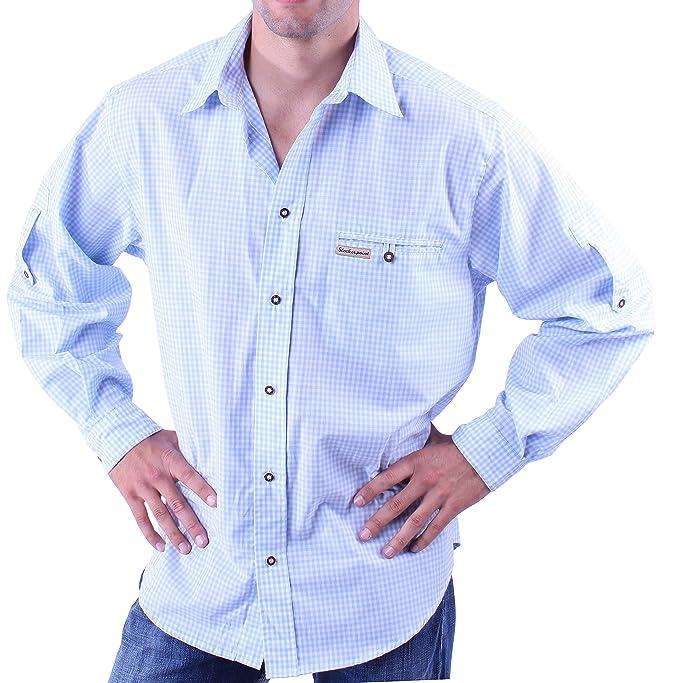 Traje Camisa para Hombres, Azul, Blanco: Amazon.es: Ropa y ...
