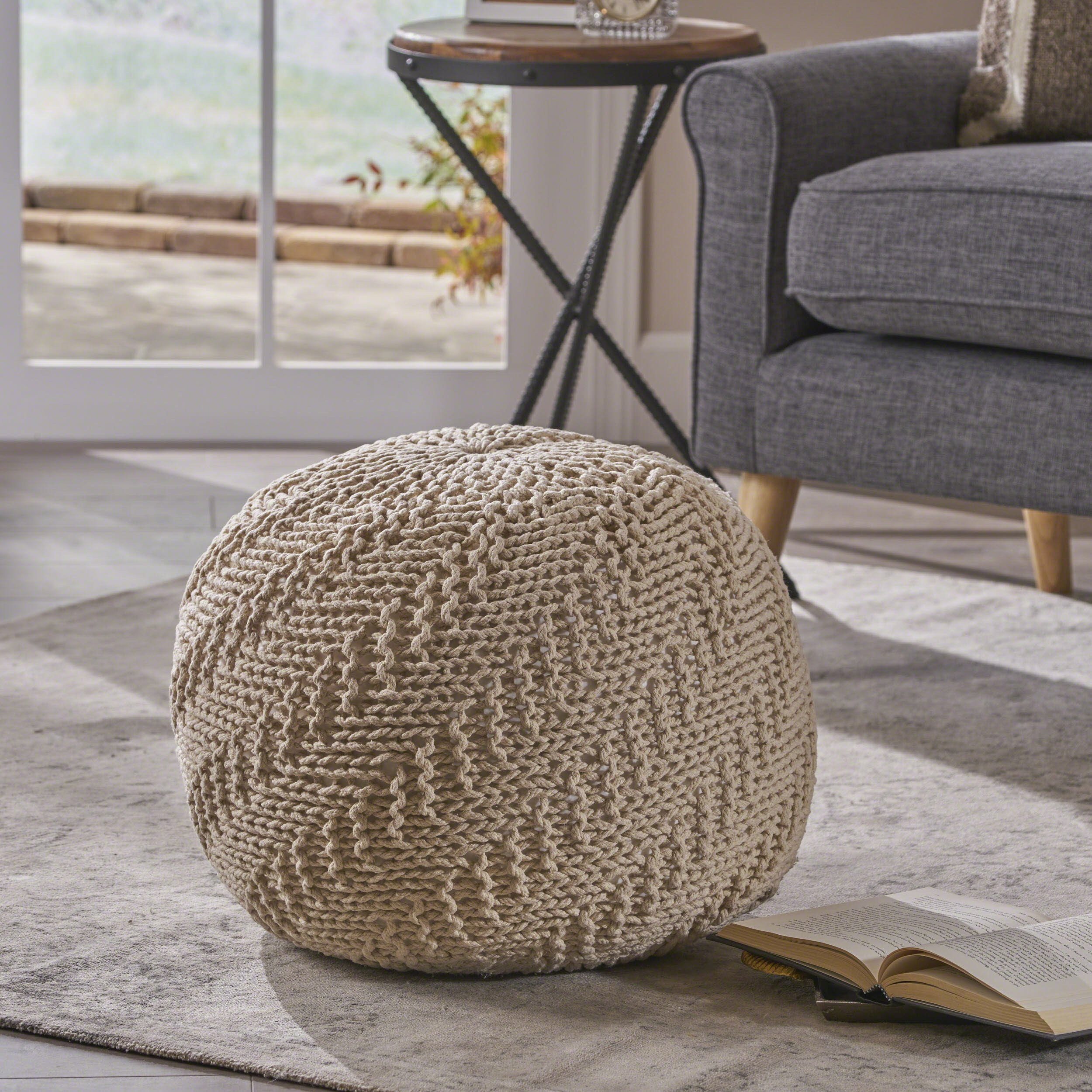 Great Deal Furniture | Austin | Knitted Cotton Pouf | in Beige