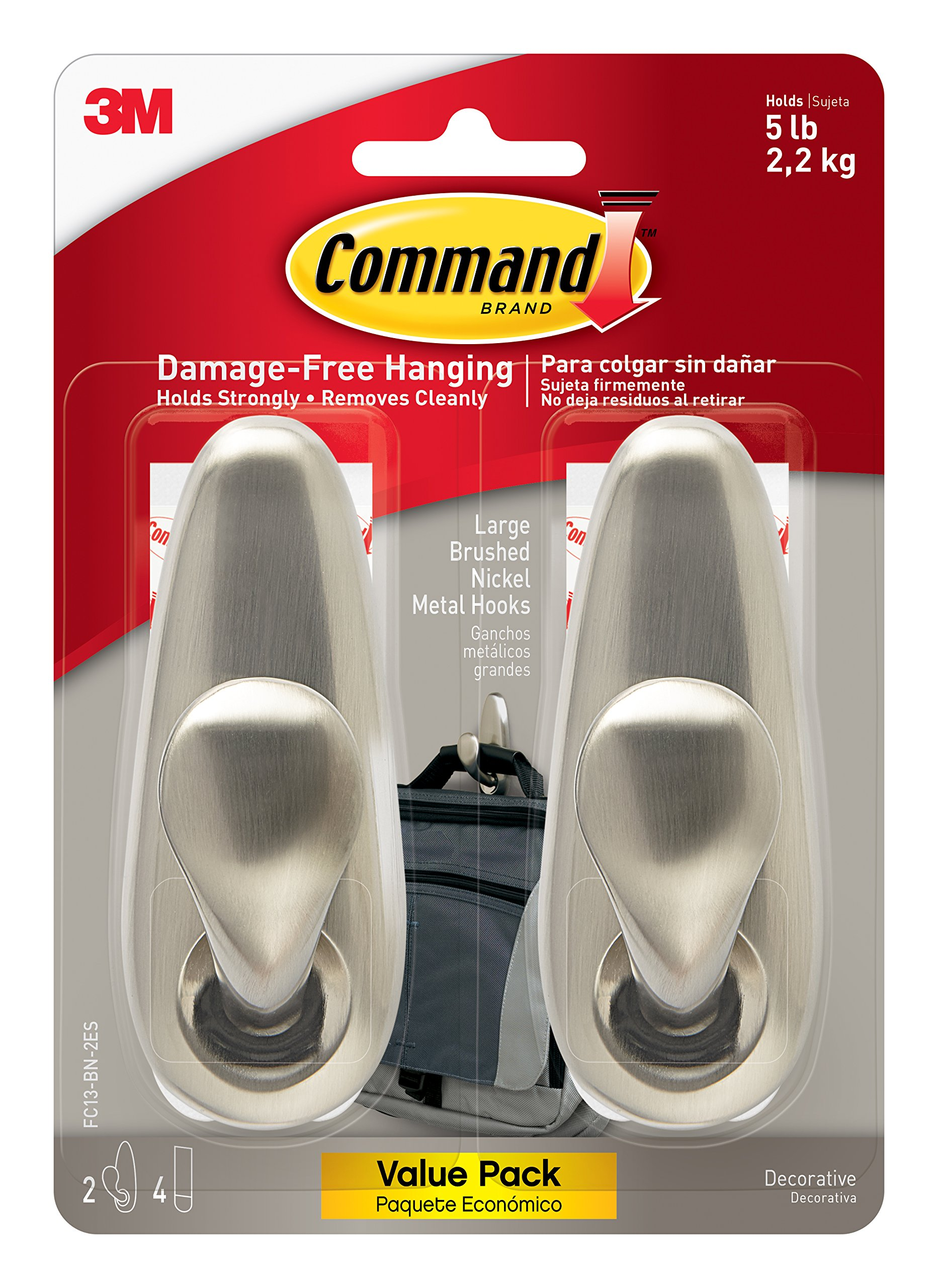 Command Forever Classic Metal Hook, Large, Brushed Nickel, 2-Hooks (FC13-BN-2ES)