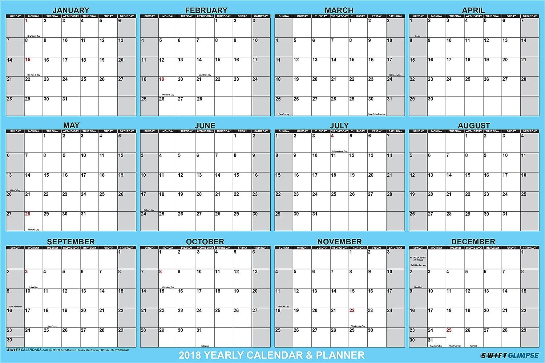 2018 yearly calendar