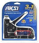 """Engrapadora tipo Pistola Aksi con Regulador de Presión 1/4"""" y 5/16"""" incluye caja de 400 grapas de 5/16"""" y 200 clavos de 5/6"""""""