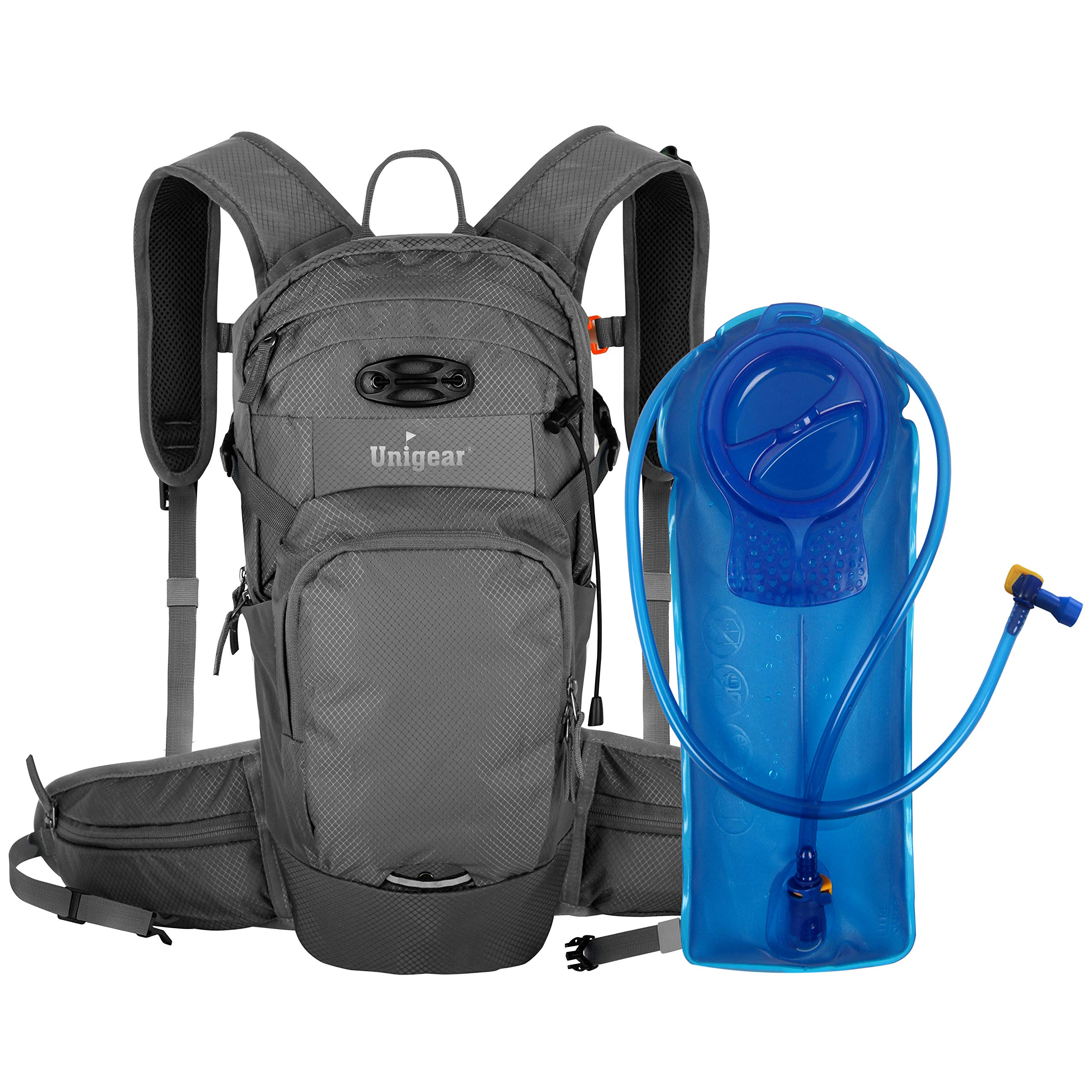 Unigear Hydration Packs Backpack with 2L TPU Water Bladder Reservoir, Thermal Insulation Pack Keeps Liquid Cool up to 4 Hours for Running, Hiking, Climbing, Cycling (Gray)
