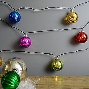 MARTHA STEWART Mercury Glass Globe String Lights, Battery Operated, 7.5 Feet, Multicolored