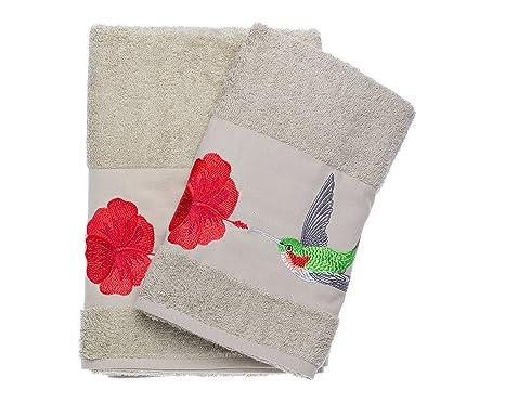 Colibrí bordado Ebru baño & juego de toallas de mano (algodón turco baño