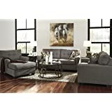 Tibbee Contemporary Slate Color Fabric Sofa, Loveseat And Chaise