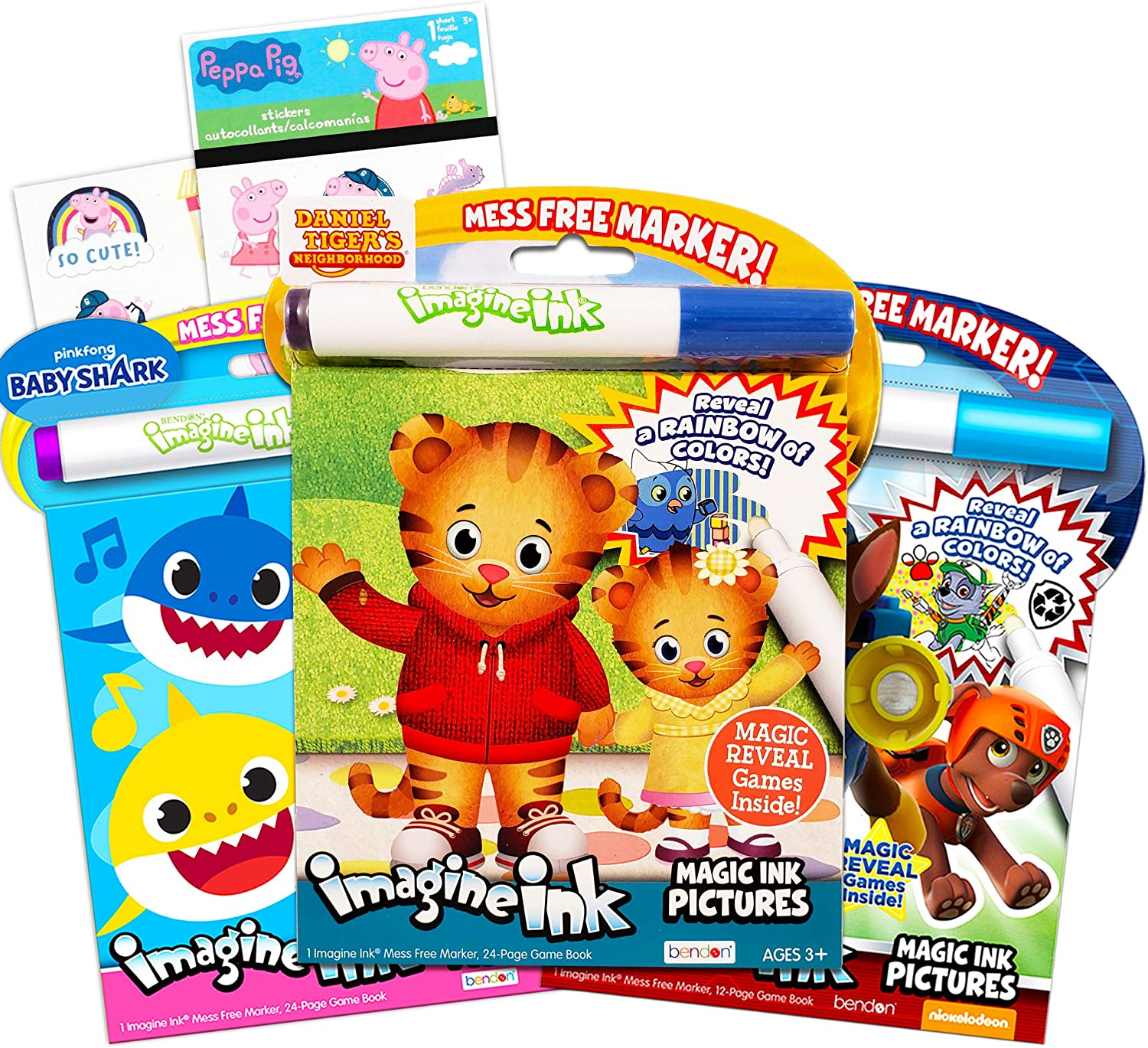 Imagine Ink Coloring Book Bundle ~ 3 Pack No Mess Magic Ink Activity Books Featuring Daniel Tiger, Paw Patrol, and Baby Shark with Peppa Pig Stickers