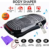Reliancer Built-in Music Player Fitness Vibration Platform Whole Full Body Shaped Crazy Fit Plate Massage Workout Trainer Exercise Machine Plate w/Integrated USB Port&LED Light