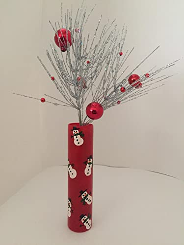 Amazon Red Bud Vase With Snowmen Handmade
