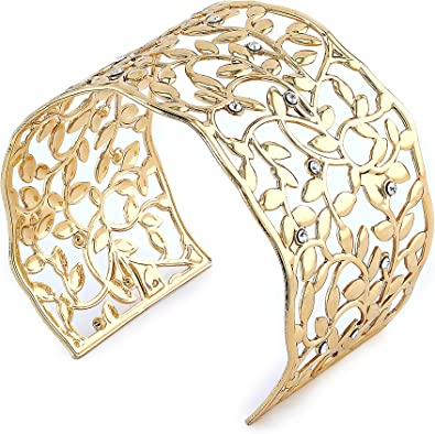 Bracelet manchette ajustable doré or fin 24 carat et orné cristal Swarovski  bracelet or femme cadeau Saint-Valentin