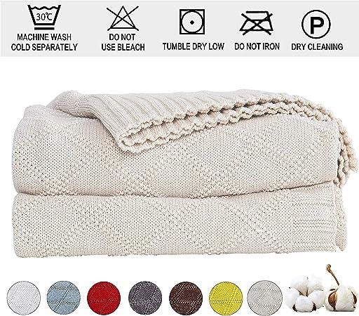 Shaddock Couverture 100/% Coton Tricot Diamant de Couverture Chauffante Jet/é de Canap/é Couvre Lit Blanket Sofa Fauteuil D/écoration Beige
