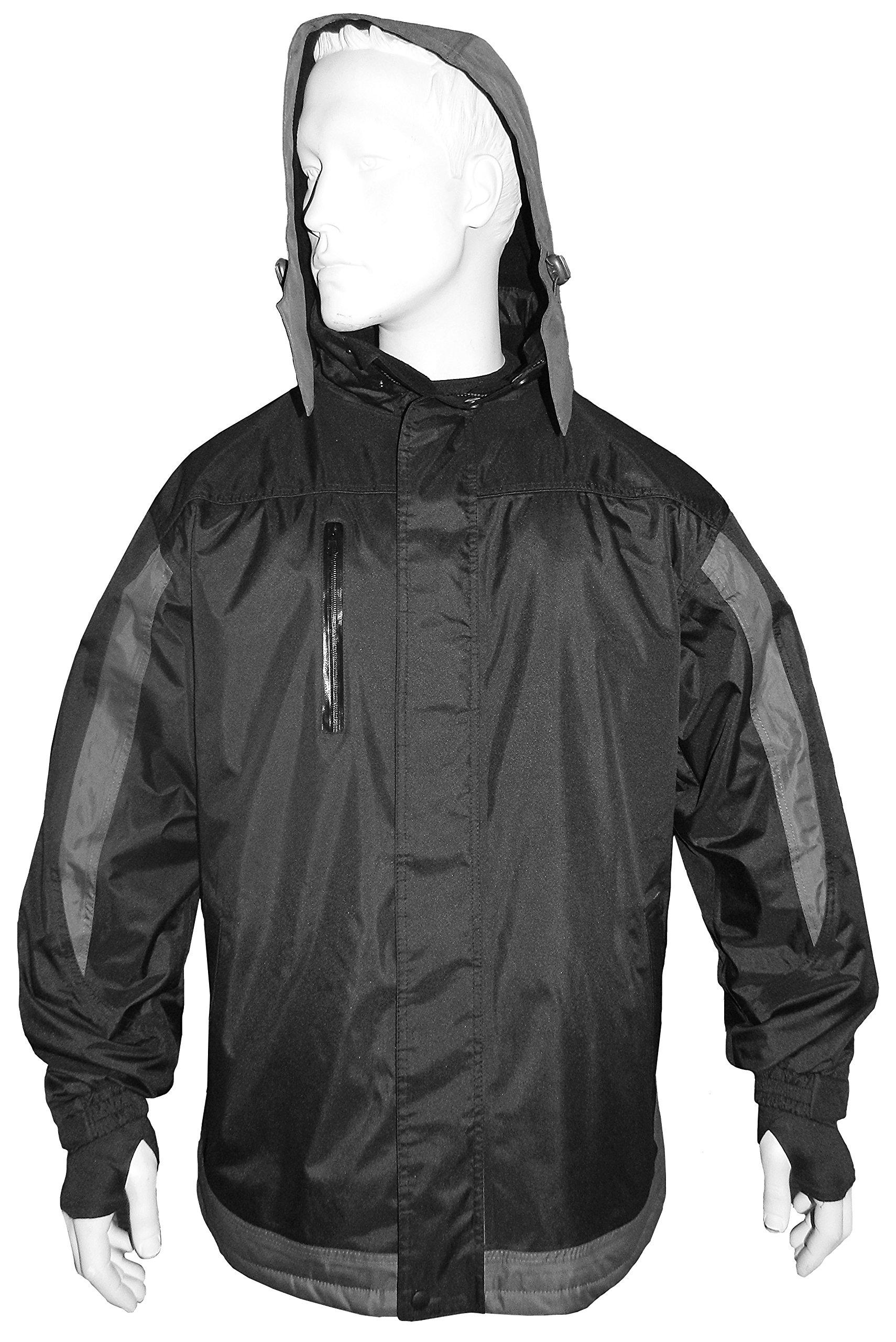 R.U. Outside Vortex Storm Layer - Wind/Water Proof Jacket, Medium/Chest 48-50-Inch, Black/Gray