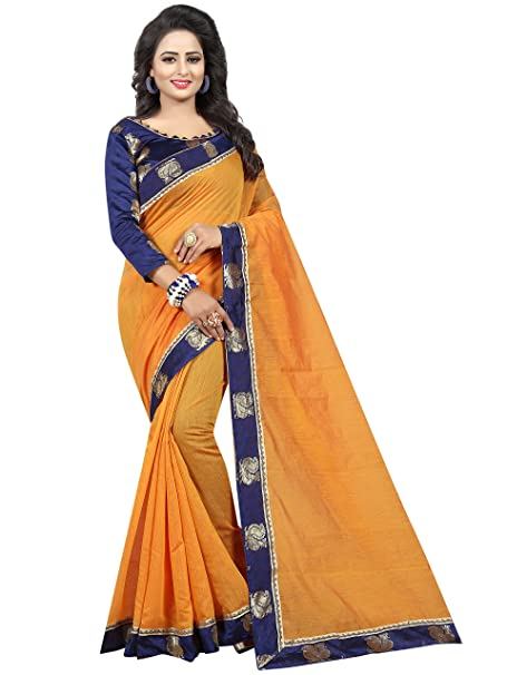 4173b92e06617 Vastrang Sarees Chanderi Cotton Saree With Blouse Piece (Light Orange Free  Size)