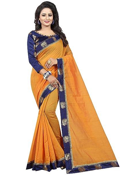 7048e2337d59e4 Vastrang Sarees Chanderi Cotton Saree With Blouse Piece (Light Orange Free  Size)