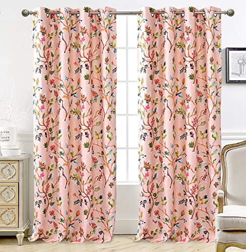 DriftAway Lauren Colorful Watercolor Tree Pattern Energy Saving Thermal Insulated Blackout Lined Grommet Window Curtain 2 Panels