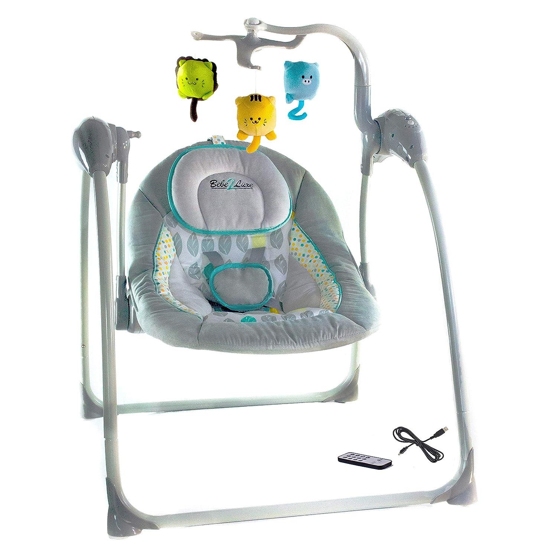 Elektrische Babyschaukel Automatische Baby Wiege Wippe LILOU grau Fernbedienung, MP3-Player via USB, Netzadapter