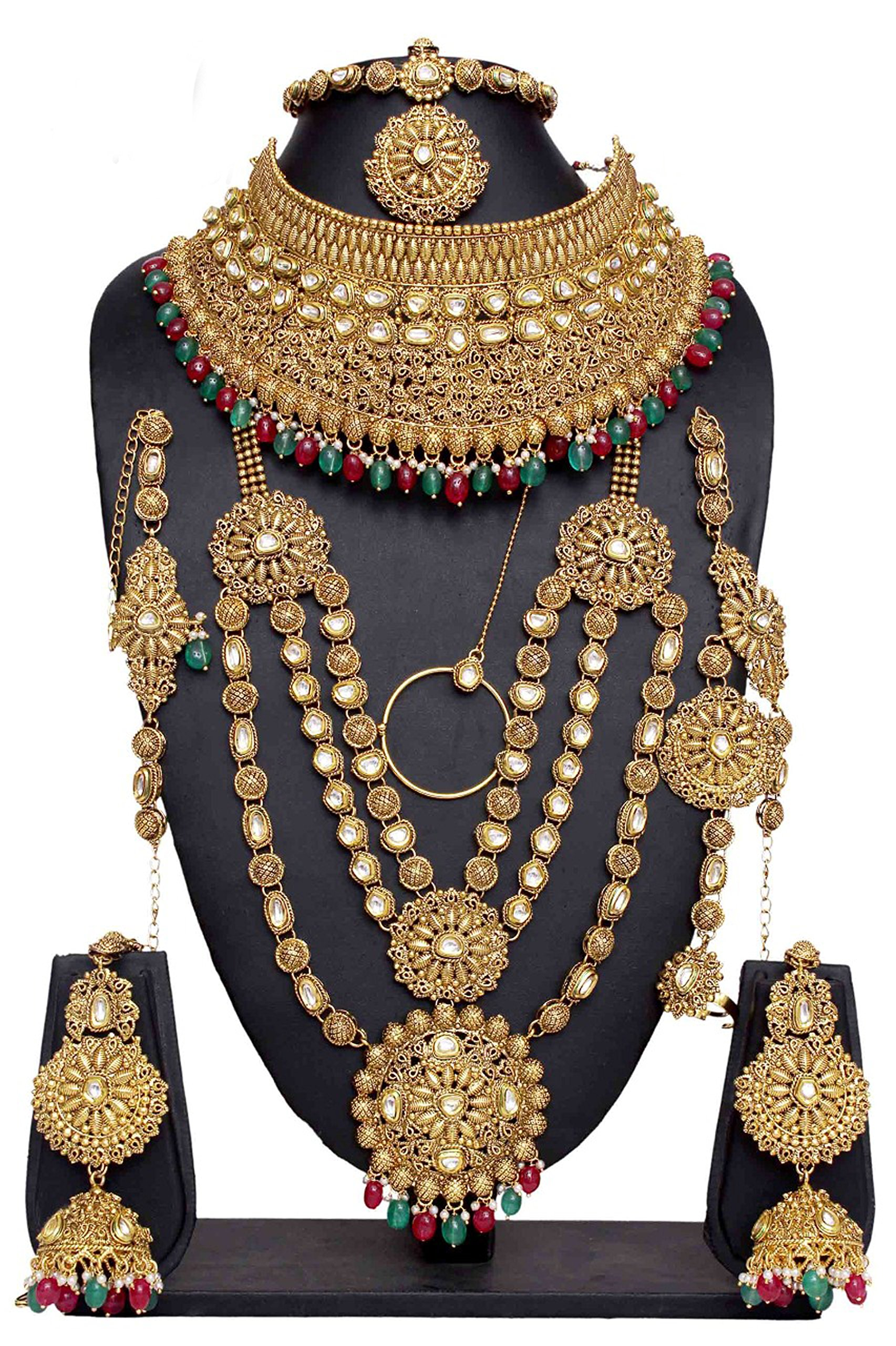 Indian Style Golden Plated Kundan Stone Polki Indian Necklace Earrings Bridal Set Jewelry For Womens